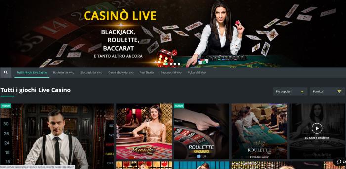 Casinò Live, blackjack, roulette e baccarat ai tavoli dal vivo con croupier reali